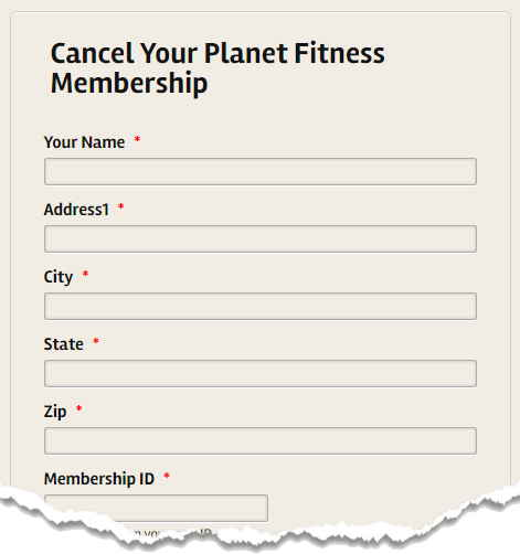 Canceling Your Planet Fitness Membership form
