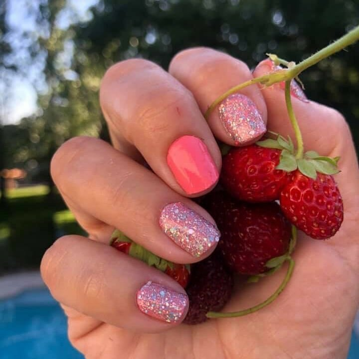 pink nails with glitter coating