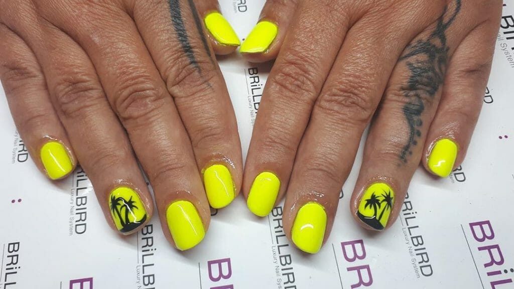neon yellow and a palm tree silhouette on one