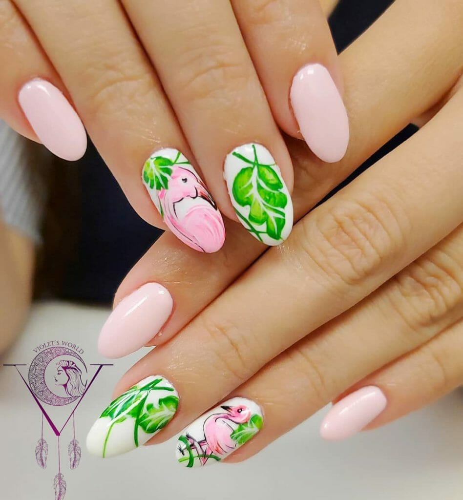 pastel pink base with a silhouette of a palm leaf or flamingo on one