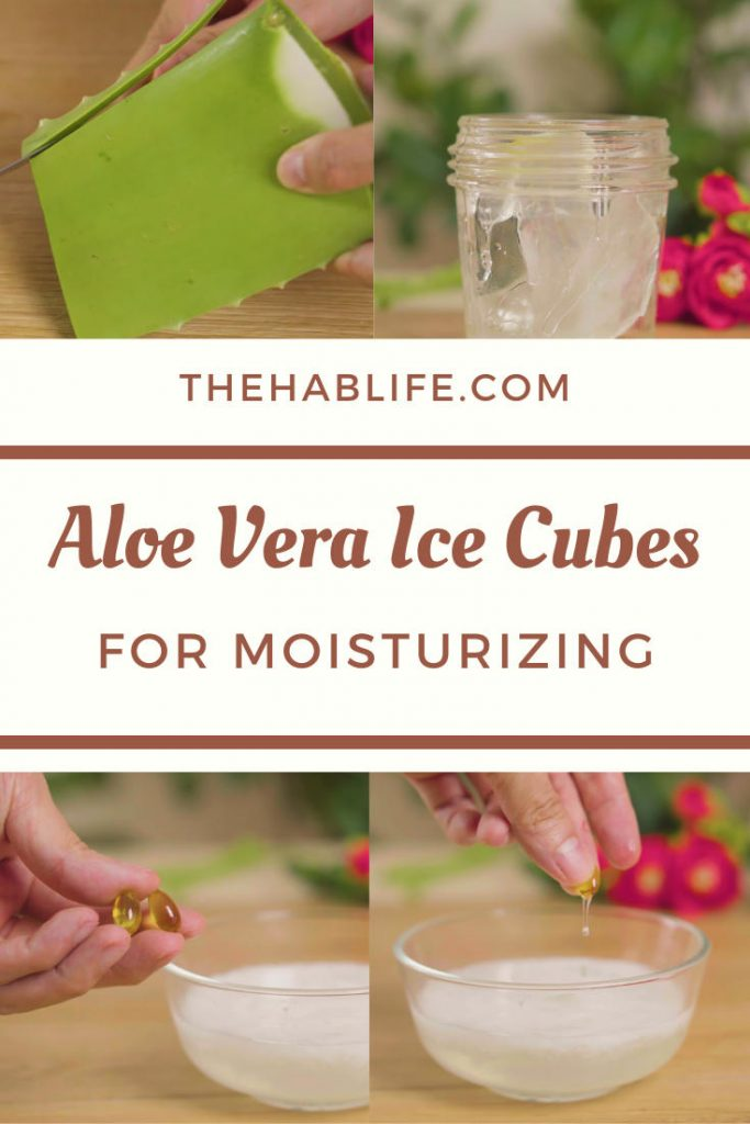 Aloe vera ice cubes for skin moisturizing