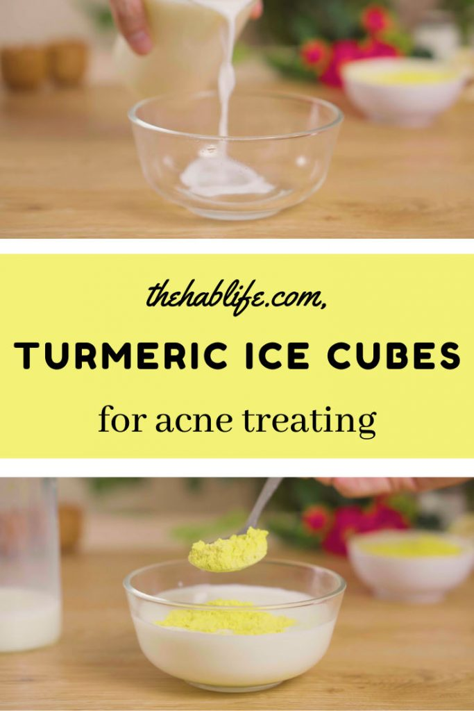 Turmeric ice cubes for acne treating