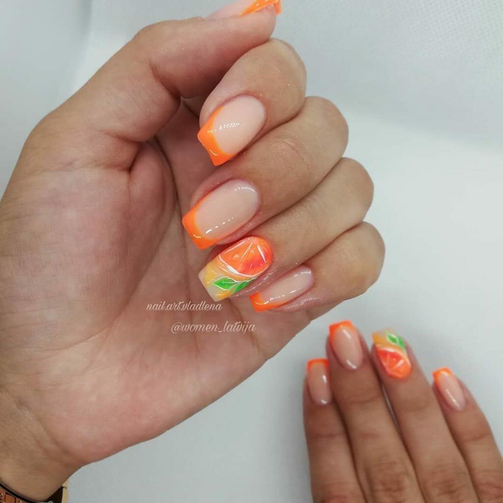light pink with orange edge nails