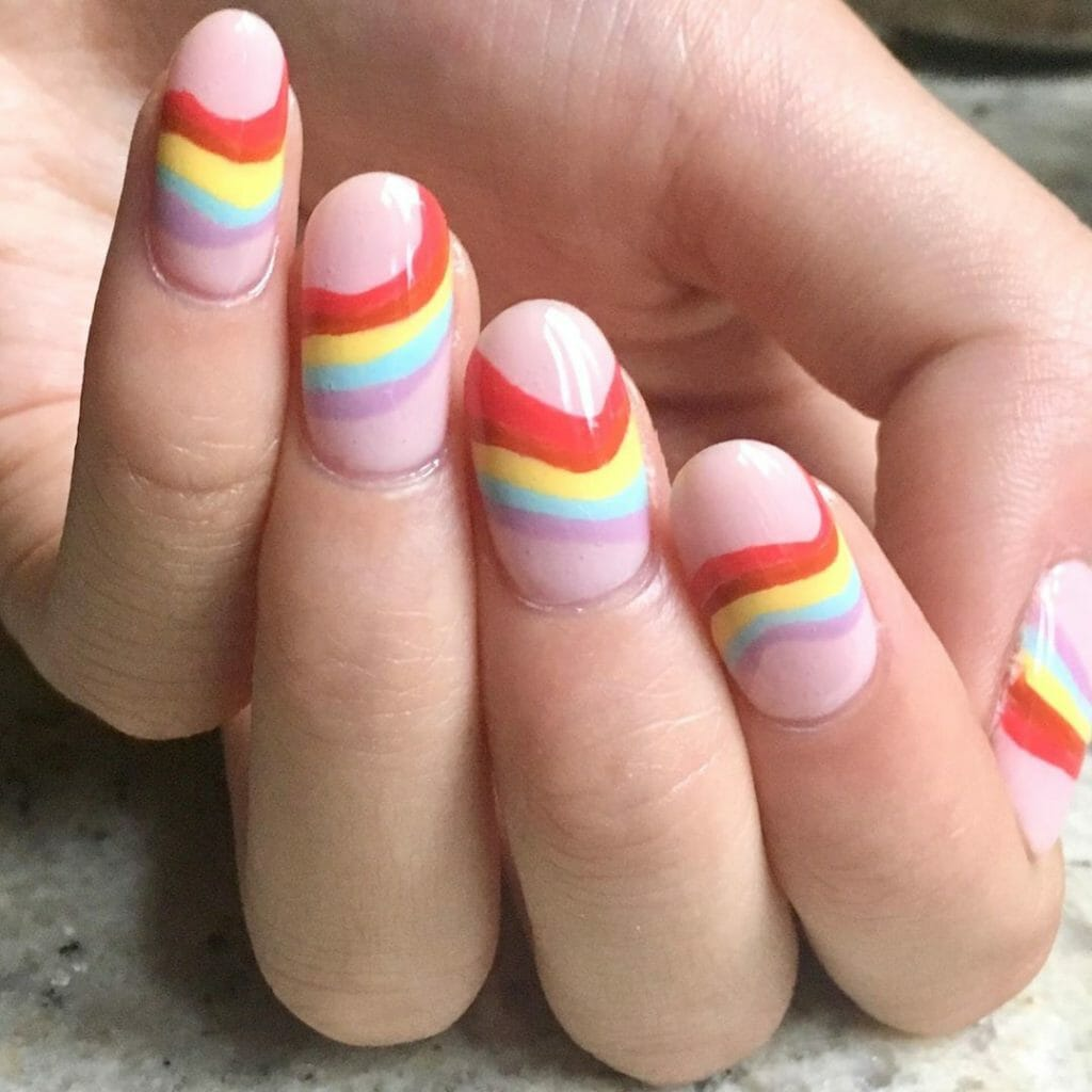 pink base with stripes of colors design
