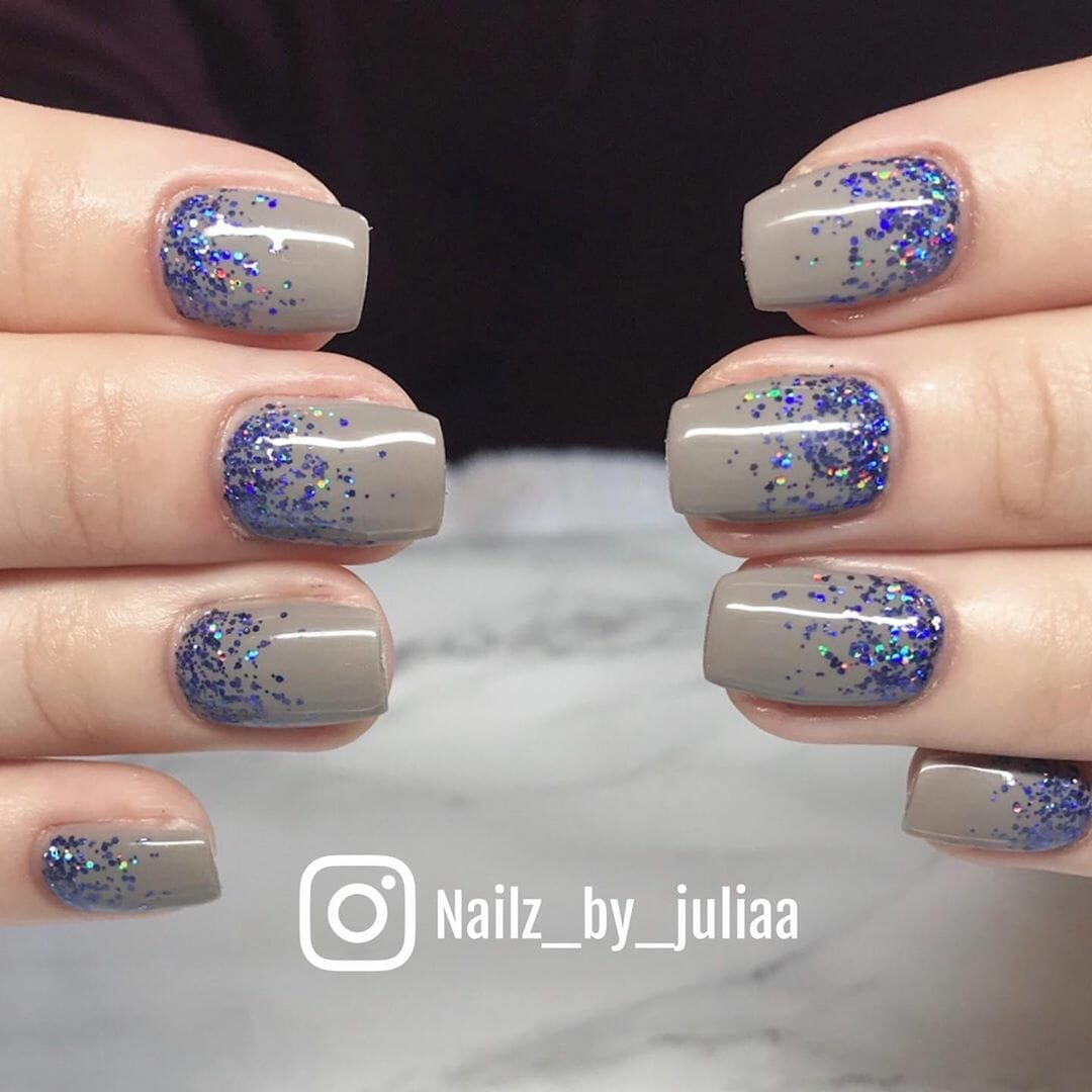purple and gray nails with sparkling glitter