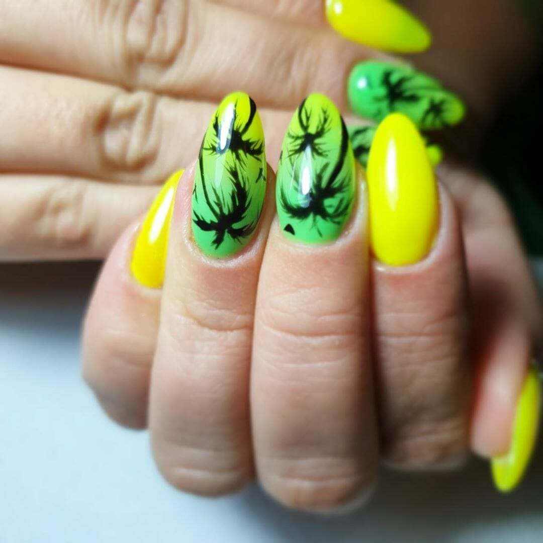 yellow and green with a palm tree silhouette design