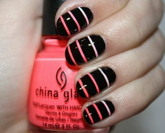 Black and Pink Stripe Nails
