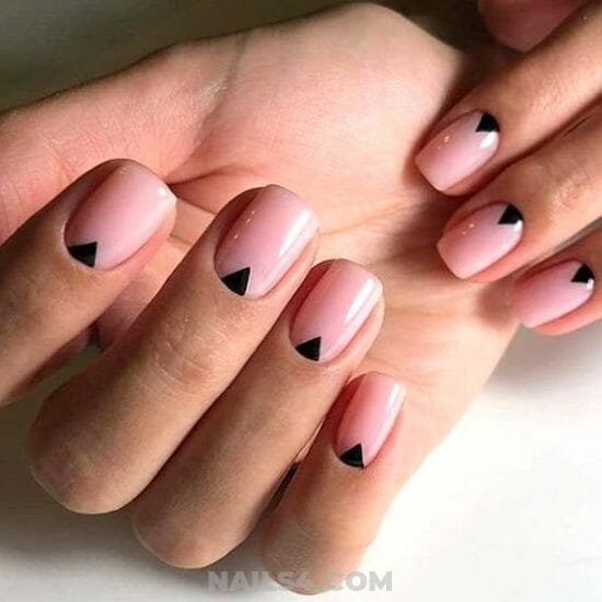 Pink Nails with Black Triangle