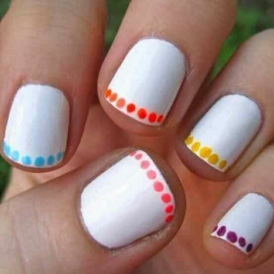 White Nails with Polka Dot Trim